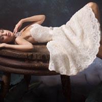 Короткое ажурное свадебное платье