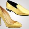 Золотая обувь от Alberto Moretti