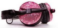 Наушники с розовыми кристаллами Swarovski